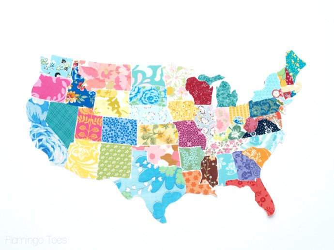Colorful Fabric US Map