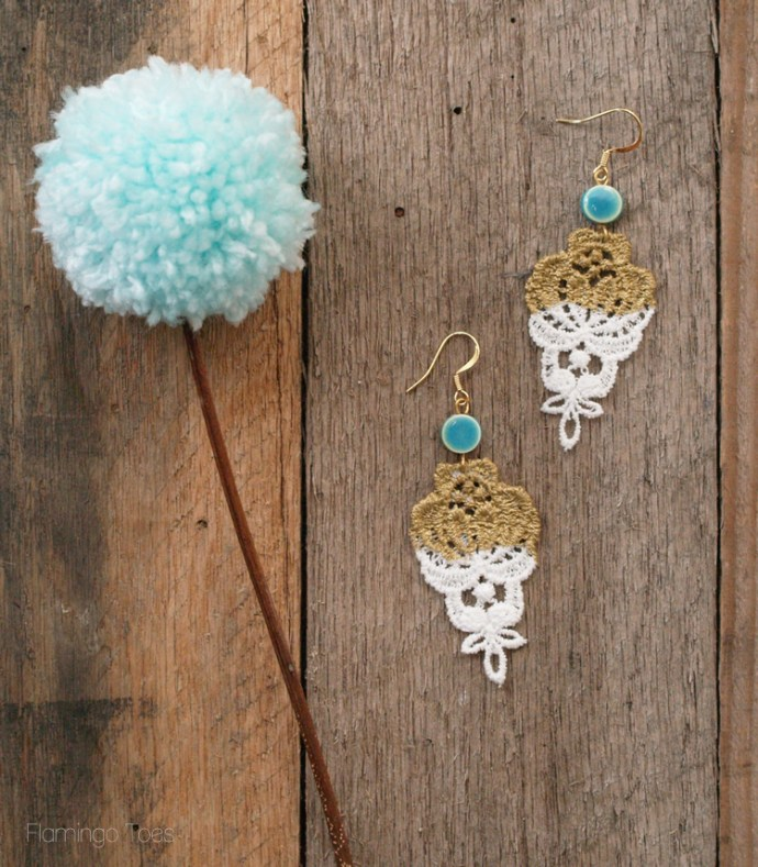 DIY Gold Dipped Lace Earrings