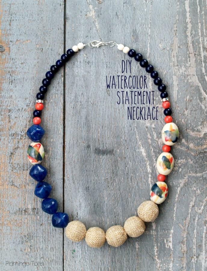 DIY Watercolor Statement Necklace