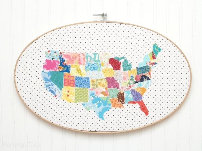 Large US Map Hoop Art