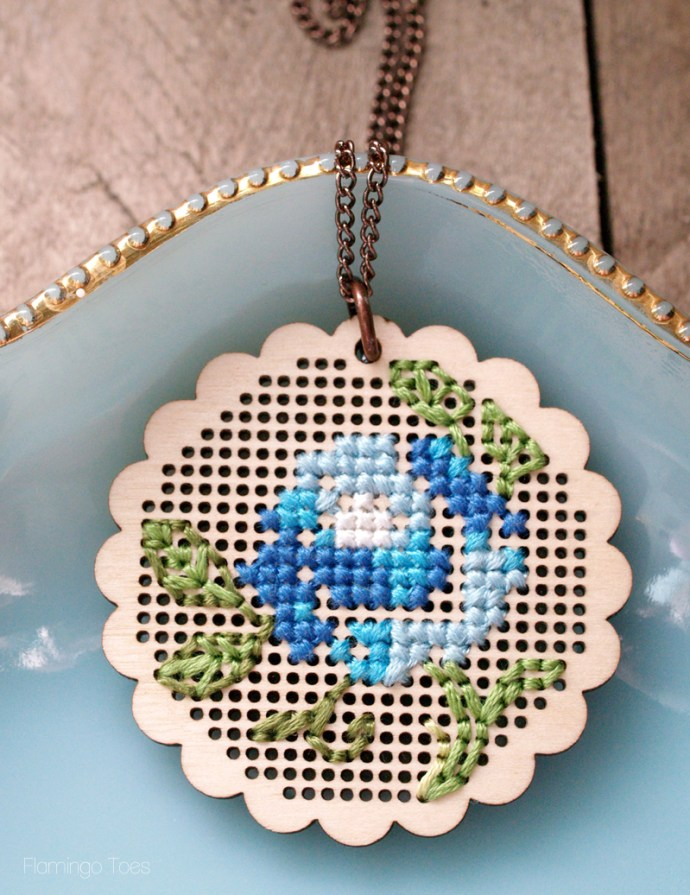 Vintage Style Stitched Pendant