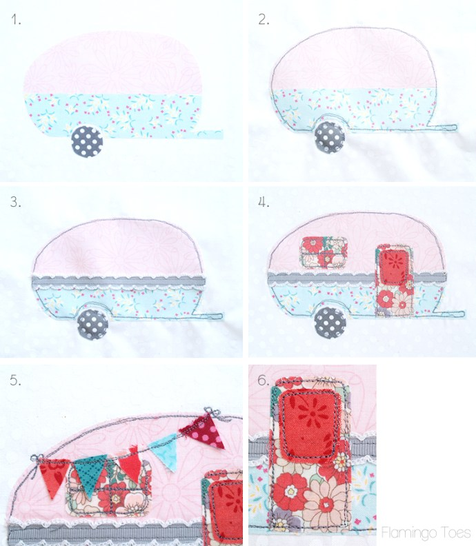 steps for stitching camper hoop