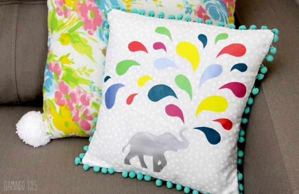 Colorful Elephant Pillow