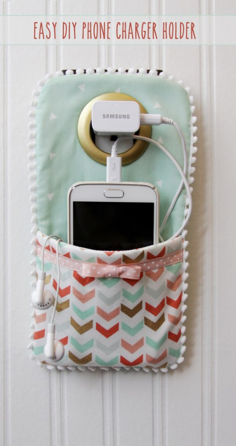 DIY Phone Charger Holder, shared by Flamingo Toes at the Clever Chicks Blog Hop
