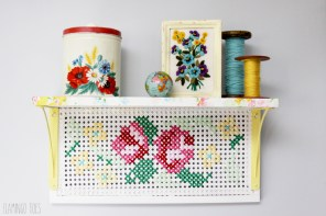 Vintage Style Cross Stitch Shelf