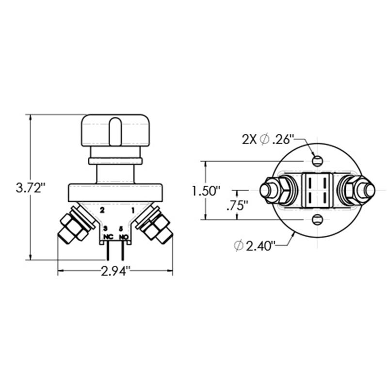 Combination Battery and Alternator Kill Switch Combination Battery