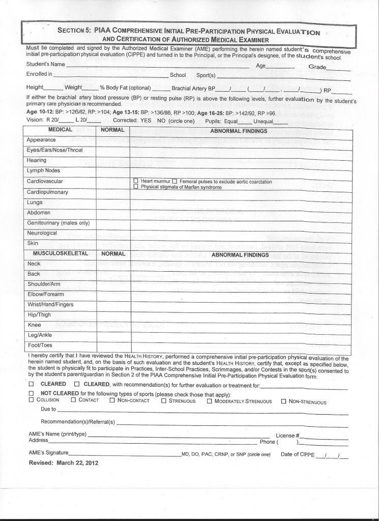 Annual Physical Exam form Pdf Beautiful Physical form Resume