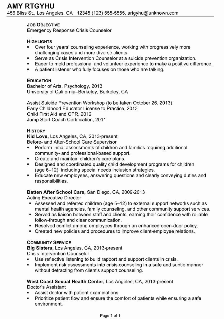 Counseling Intake assessment form New Psychology Counselor Resume