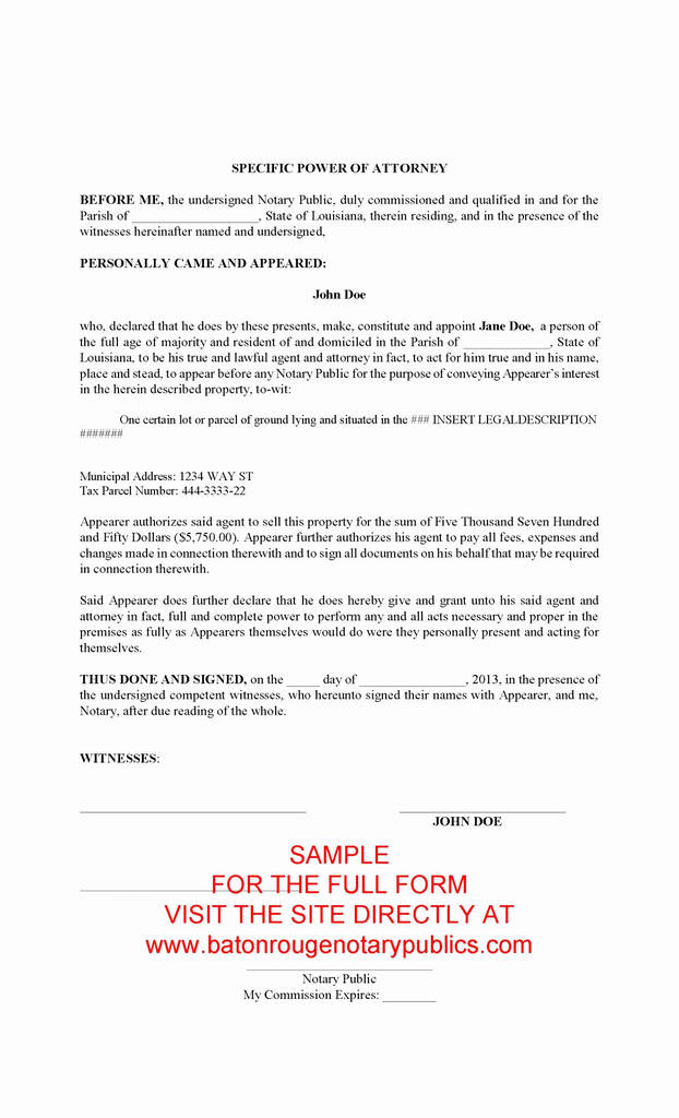 Free Limited Power Of attorney form Real Estate Fresh Unlimited