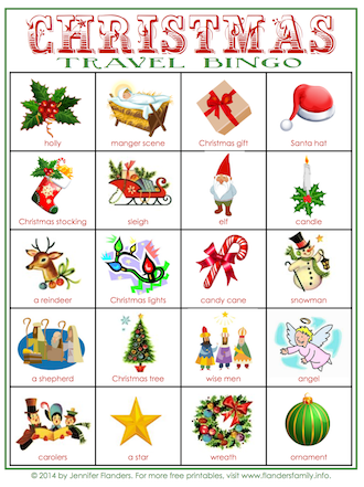 Free printable travel bingo cards for Christmas
