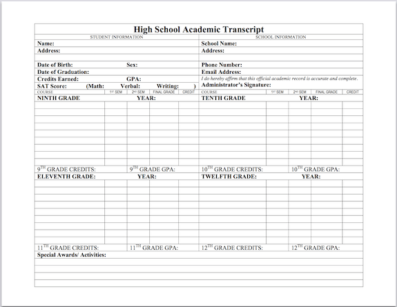 Printable High School Transcript Templates Pictures To Pin On
