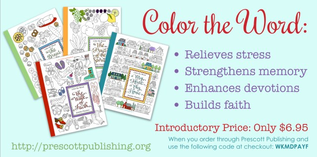 Color the Word - Faith-building coloring books for all ages. -- And now, for  a limited time, you can get them for a super-low introductory price!
