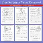 Free printable copywork in Print and Cursive
