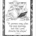 "Columbus Day Coloring Page - ""Man plans his way, but the Lord directs his steps."""