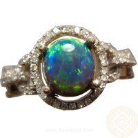 Black Opal Diamond Ring 14k Gold Lime Green   FlashOpal