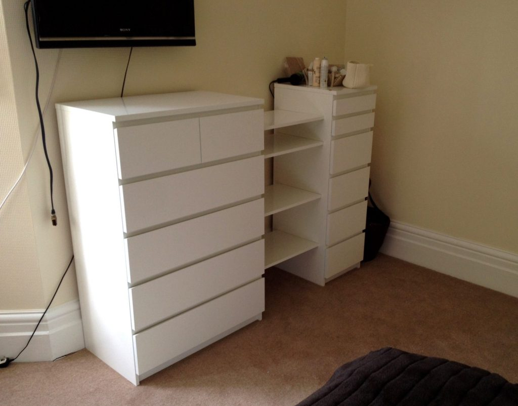 Ikea malm drawers besta shelf hack flat pack dan for Ikea malm schreibtisch