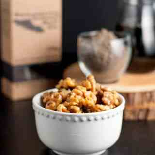 Maple Glazed Walnuts with Smoked Sea Salt add a healthy crunch to your salads. Just 3 ingredients and 3 minutes to make.