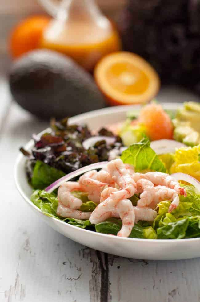 Citrus Avocado Salad with Baby Shrimp and Smoky Vinaigrette. A healthy ...