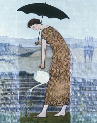 """Gardening in the Rain"" by Brian Kershisnik"