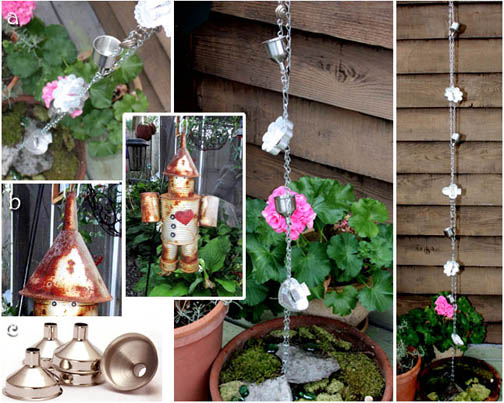 garden tin man and rain chain