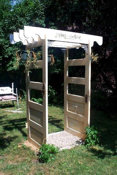 Door arch set up in Sue's daughter's garden
