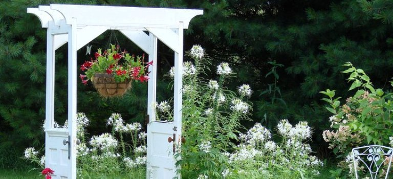 Making snazzy re-purposed garden arches