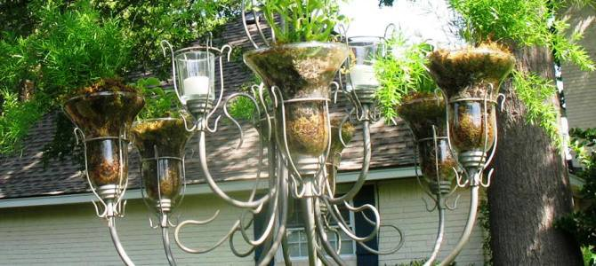 Upcycling vintage light fixtures for the garden