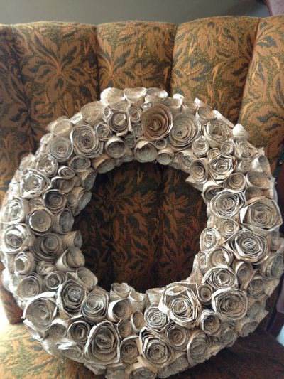 Susan Richard's paper rose wreath