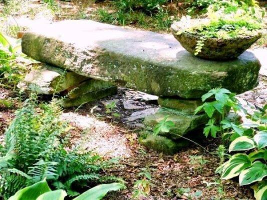 Kathy Hardin's mossy stone bench