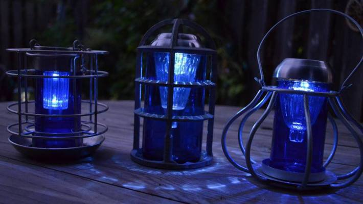 Sensational recycled solar lights in the garden