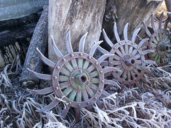 Debra Clark noticed the frosty designs on her cultivator wheels in this excellent photograph