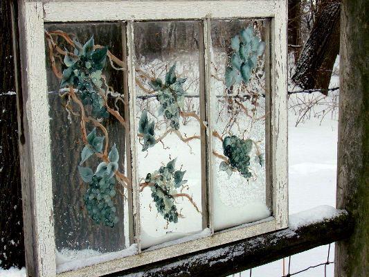 Jeanne's painterly winter window frames the snow