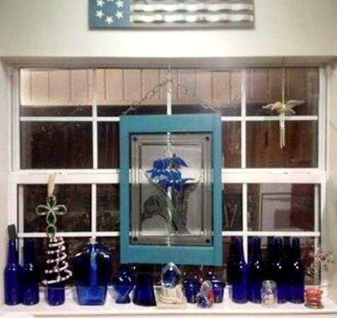 Jimmye Lynn Dye-Porter's pretty 'blue' window is sure to cheer her through the winter months