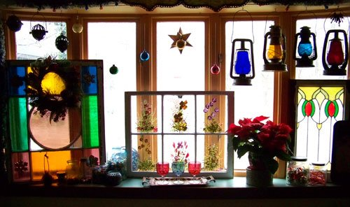 Julie's window, decked out for Christmas
