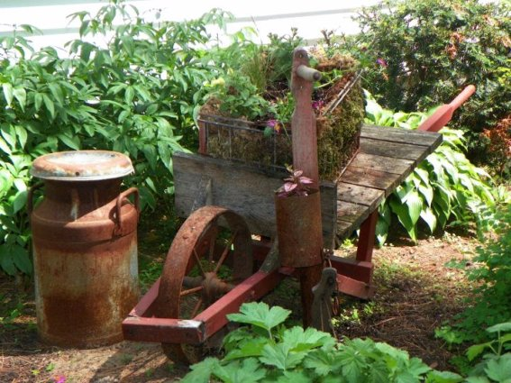 Linda Lou Miller shows us one of the oldest wheelbarrows we have seen.