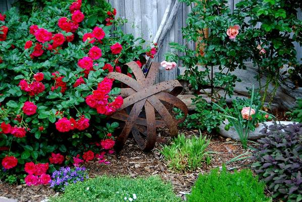 Dot Brennan Baker's version of 'rust & roses!' She assembled this 'orb' from old whiskey barrel rings. Cool, uh!
