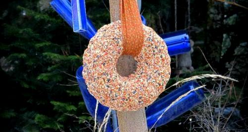 Make a fun molded bird seed wreath