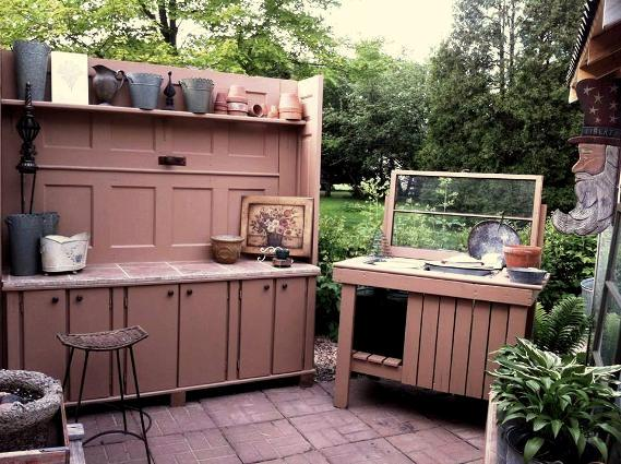 Ann Elias says, My new work area is almost done. Still need a top piece for the potting bench..and then a rain barrel so I have water available. Had my plant sale today...and enjoyed giving tours of my garden and the Lady Lounge The paint was a gallon of oops paint from Home Depot. Cheap and I like the color.