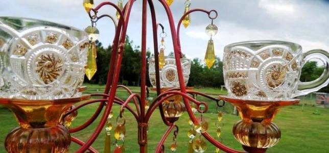 Chandeliers transformed for the garden
