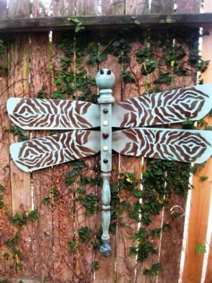Sara Longale's dragonfly is made form ceiling fan blades and an old spindle and has a lovely pattern.
