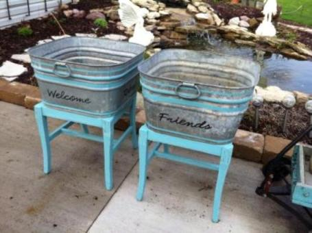 Two galvanized tubs, painted and mounted