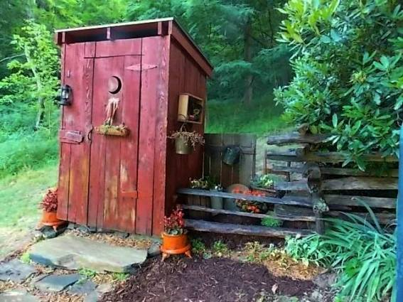 Finished outhouse- package drop