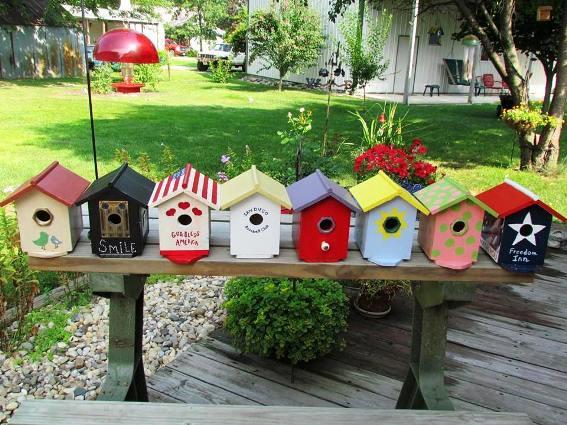 Nancy Carter's line-up of bird houses