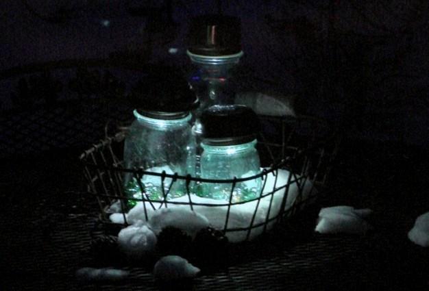 At night,...fabulous Mason jar lights