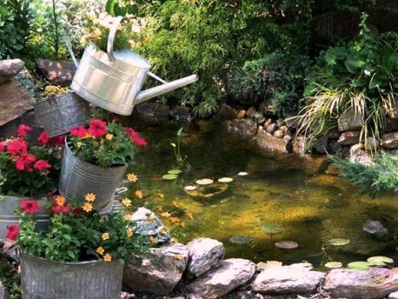 Dandi's pond is the centerpiece of her garden