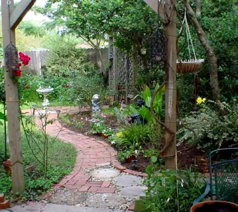 Sydney Minor's winding brick path