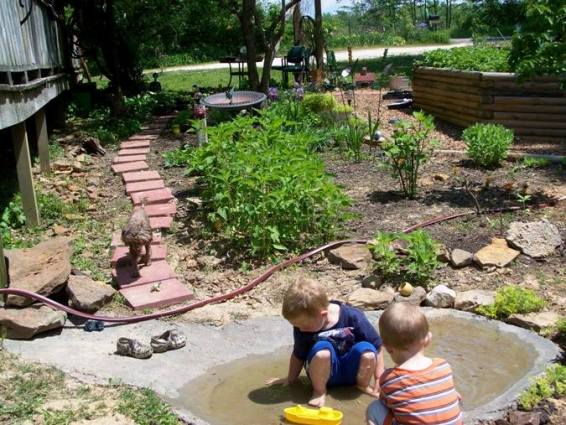 The toad pond at the end of the pathway, a couple months later