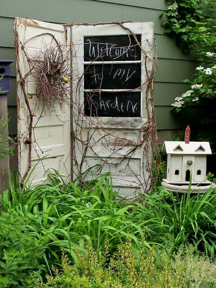 Gail Brunke's door is hinged and accented with blackboard paint