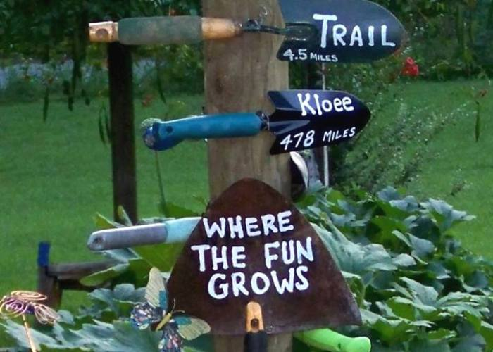 Sue's 'grand' signpost for the garden