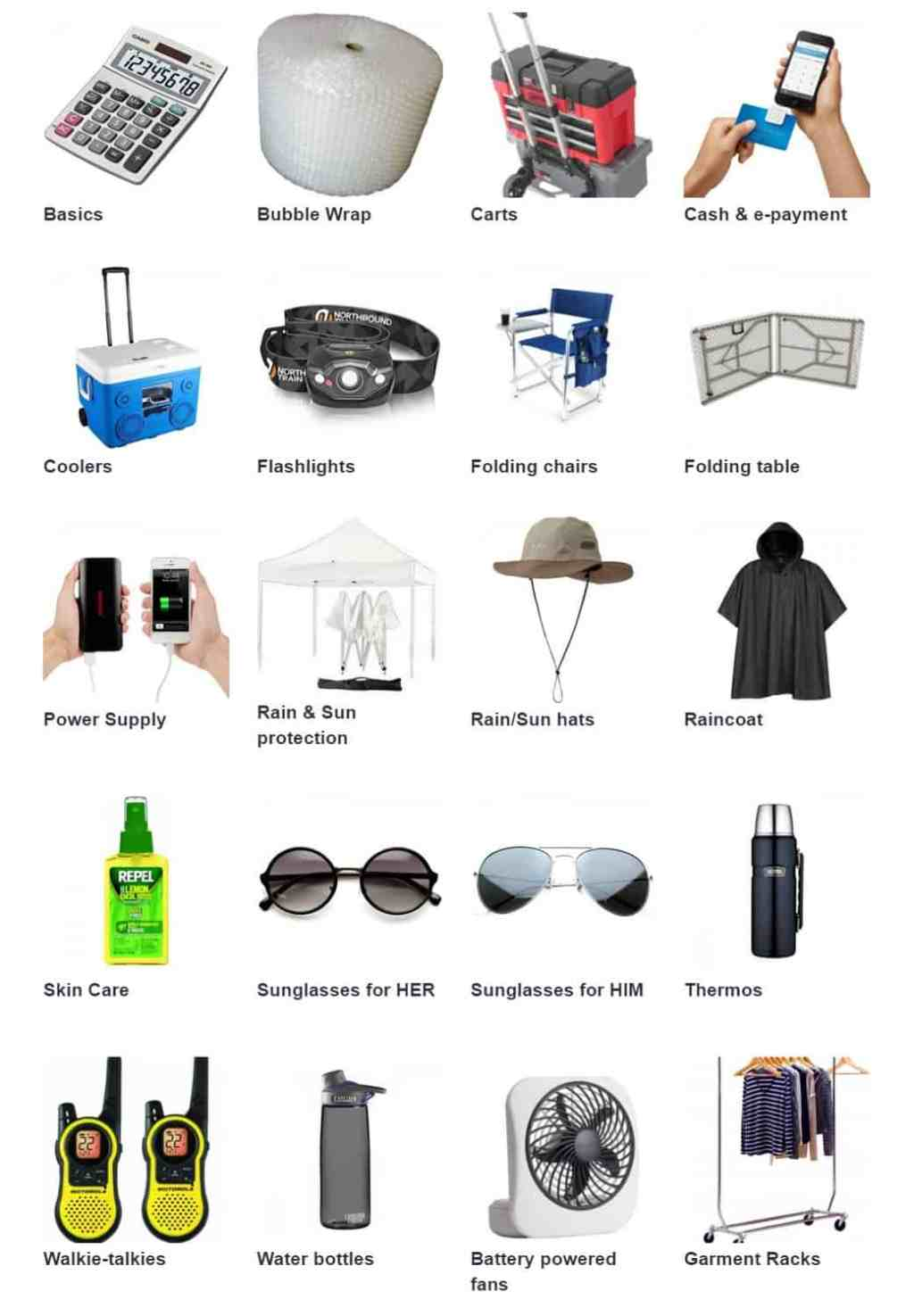 flea market gear for vendors